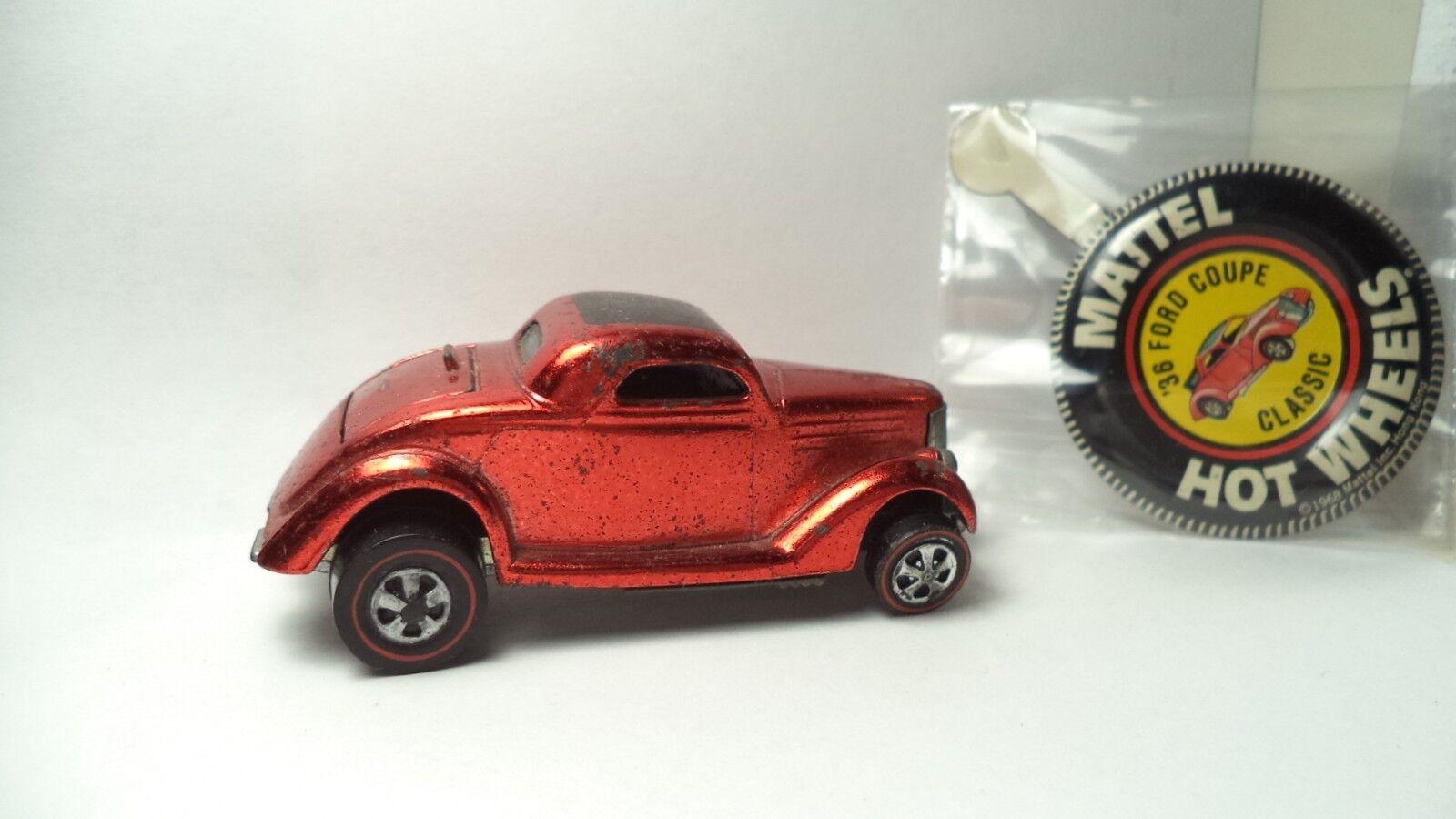Vintage Hot Wheels rosso líneas USA 1969 Classic'36 Ford Coupe [cobre] con botón