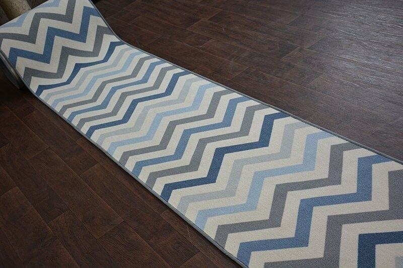 Épais Runner Tapis Bleu ciel Zigzag Moderne Antidérapant Largeur 67 67 67 - 80 cm extra long | Matériaux De Grande Qualité  d77668