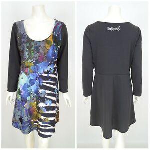 Womens-Desigual-Vest-Liana-Dress-Long-Sleeve-Floral-Print-A-Line-Grey-Size-XL