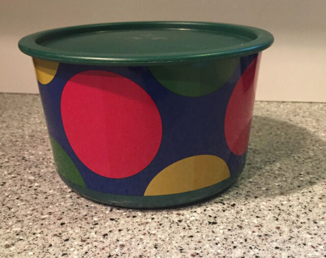 Tupperware Canister One Touch Lid Emerald Jade Green W/Polka Dot 2709A-3c