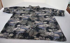 Palm-Island-Hawaiian-Shirt-Men-sz-XL-blue-gray-white-short-sleeve-cotton-rayon