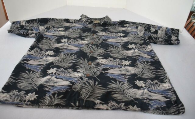 Palm Island Hawaiian Shirt Men sz XL blue, gray, white short sleeve cotton rayon