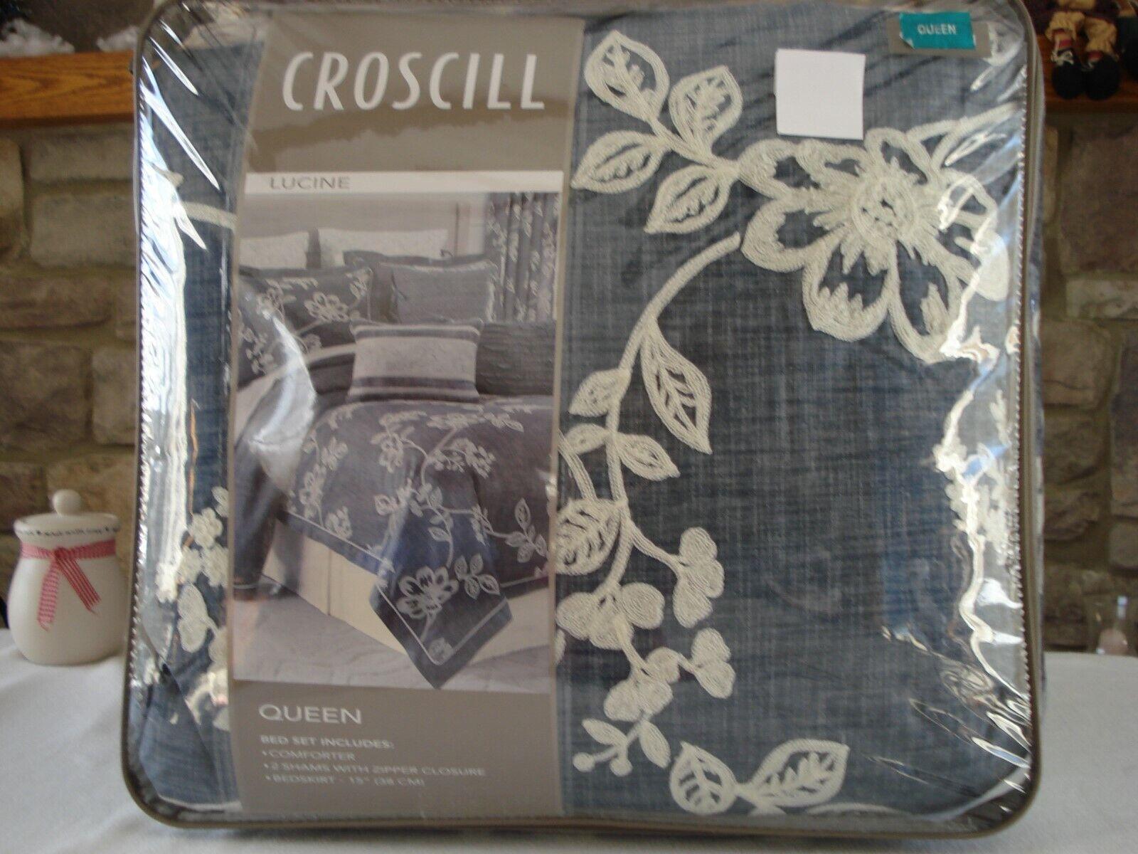 CROSCILL 4-pc QUEEN LUCINE Blau OverGrößed Comforter shams bedskirt set  420