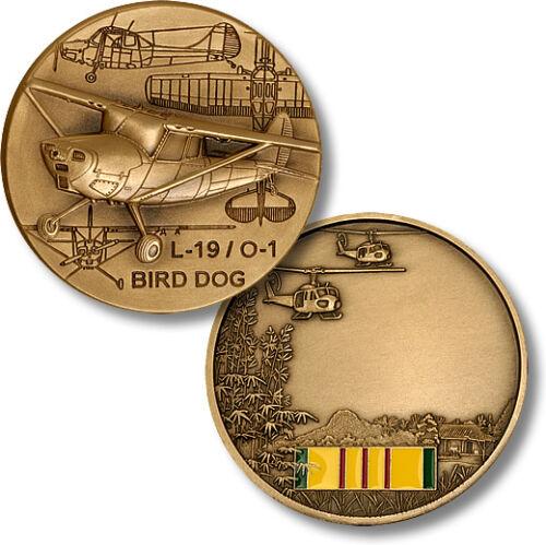 L-19 O-1 Bird Dog Challenge Coin Spotting Plane Vietnam Ribbon War Pilot Vet