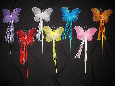 Large Girl Child Teen Adult Fairy BUTTERFLY WINGS PRINCESS Ribbon WAND Costume