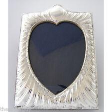 "BEAUTIFUL ART NOUVEAU SILVER PICTURE FRAME.  5"" x 3.75"" heart shaped sight area"