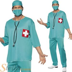18774b50027 Image is loading Mens-Surgeon-Doctor-Costume-Adult-Scrubs-Hospital-Uniform-