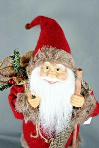 Weihnachtsmann 45cm Santa Claus Nikolaus Figur Dekoration Deko stehend Jutesack