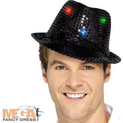 100% Vero Light Up Nero Con Lustrini Borsalino Cappello Adulti Costume Showtime Costume Accesssory-mostra Il Titolo Originale