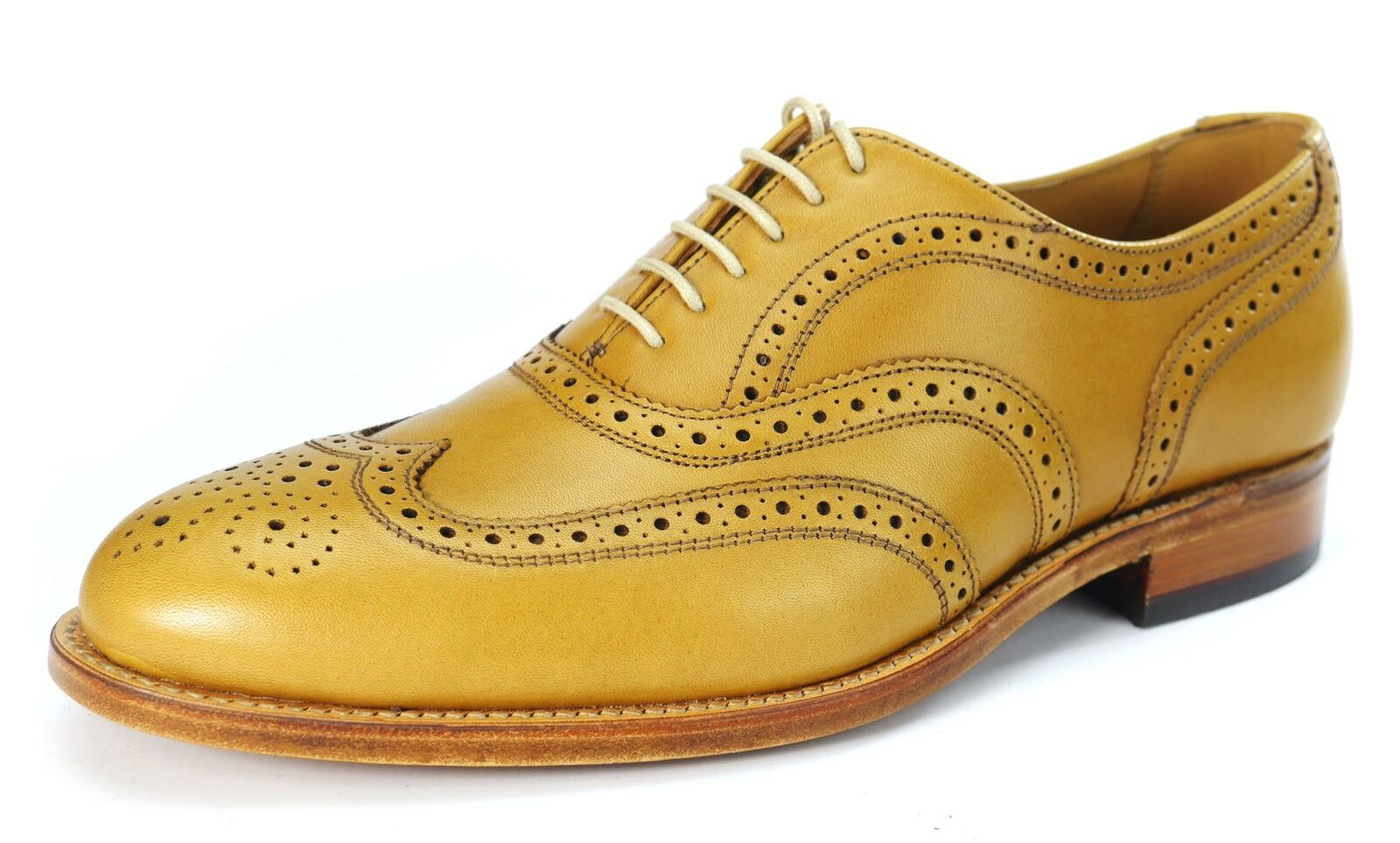 Charles Horrel Cambridge Britsh Welted Mens Brogue Lace Up Leather schuhe Tan