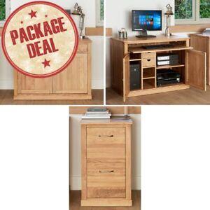 Details About Mobel Solid Oak Furniture Hidden Desk And Two Drawer Filing Cabinet Package