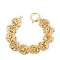 Technibond Reversible Diamond Cut Rosetta Bracelet 14k Yellow Gold Clad Silver