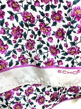 Vintage ECHO Rectangular Scarf 100% Silk  Purple Mini Flowers Print  / Japan