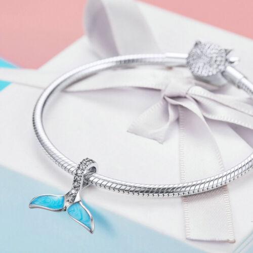 Européenne Argent 925 Bleu queue de poisson Zircone Cubique Charme Pendentif Fit Femmes Chaîne Collier Sautoir 2019