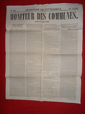 Levendig Journal Le Moniteur Des Communes Ministere De L'interieur N°16 - 18 Avril 1861