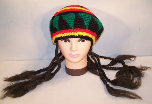 KNIT REGGAE CAP WITH BRAIDED PONYTAILS novely hat new HIP HOP funny pony tail