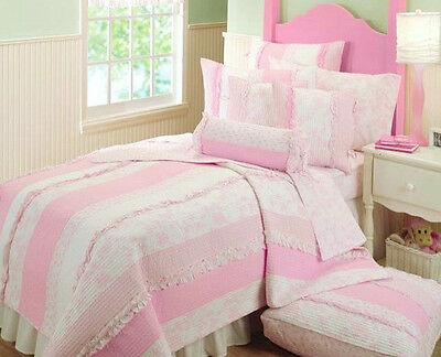 SWEET ABIGAIL SHABBY COTTAGE CHIC RUFFLE PINK TOILE ROSES WHITE GIRLS TWIN QUILT