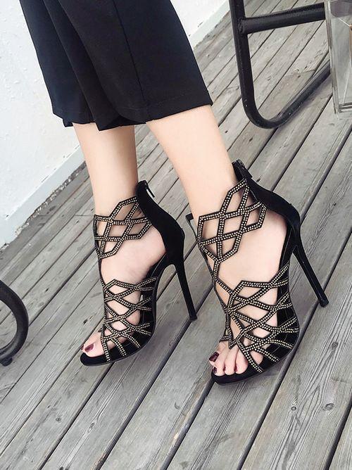 Sandalo Sandalo Sandalo stiletto eleganti sabot 11  cm nero strass  11  36e2b6