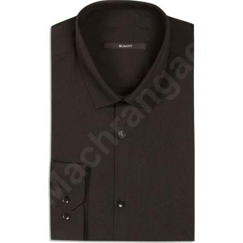 "Black Formal Plain Long Sleeve  Slim Regular Fit Work Shirt Sizes 14/""-17/"""