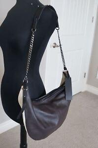 NEW-Halston-Heritage-2-Tone-Brown-Beige-SOFT-Leather-Large-Sack-Hobo-Hand-Bag