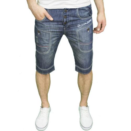 BNWT Rawcraft Mens Designer Branded Slim Fit Panel Design Denim Shorts