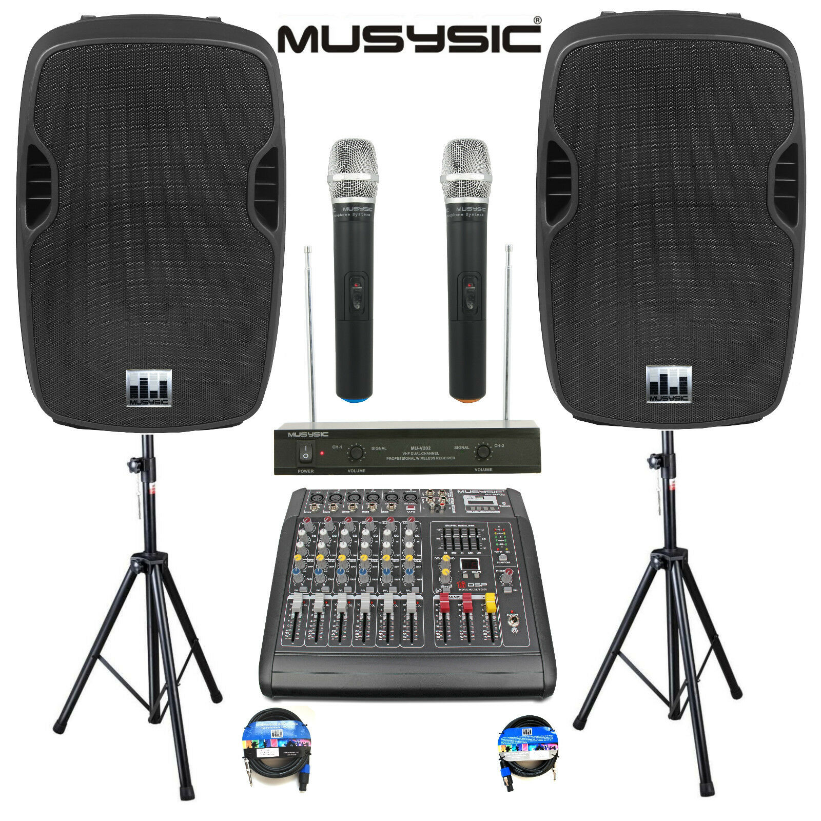 Complete Professional 2000W PA System 6 CH Mixer 15  Speakers Wireless Mics