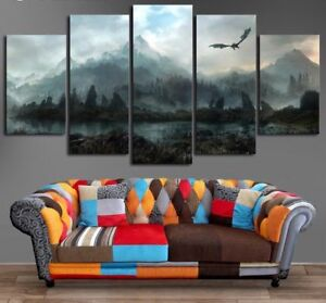 Image Is Loading Framed Home Decor Mountain Skyrim Lack Bird Canvas