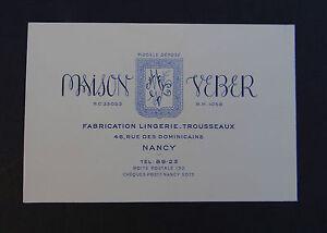 Carte De Visite MAISON VEBER Lingerie Trousseaux NANCY