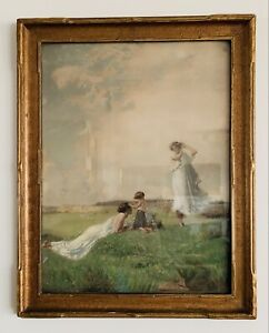 Antique Color Print In Wood Frame 2 young Women with a child in the meadow