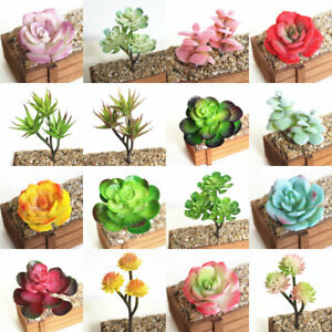 Artificial Succulent Flower Floral Stem Plastic Faux Plant Foliage Garden Decor