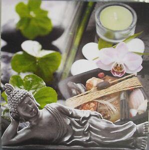 Wandbild-BUDDHA-mit-Orchidee-Foto-auf-Leinwand-u-Keilrahmen-40-x-40-cm-NEU