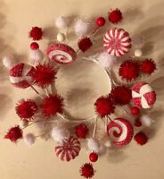 Sugar Coated Peppermint Candy Candle Ring Wreath Swag Christmas Ornament 8