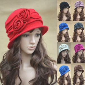 Womens-1920s-Vintage-Style-100-Wool-Knit-Cloche-Beret-Bucket-Hat-A287