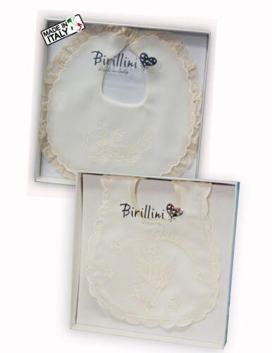 Bavette neonati SETA ricamate IL MIO BATTESIMO made in Italy marchio BIRILLINI