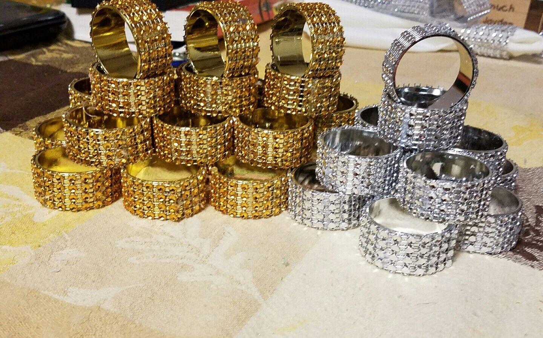 Strass Ronds de Serviette Ring 80 pieces. or - 10% OFF prix régulier