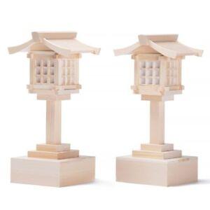 Wooden-Miniature-Jinja-Shinto-Shrine-LED-Lantern-8-034-Altar-Kamidana-Small