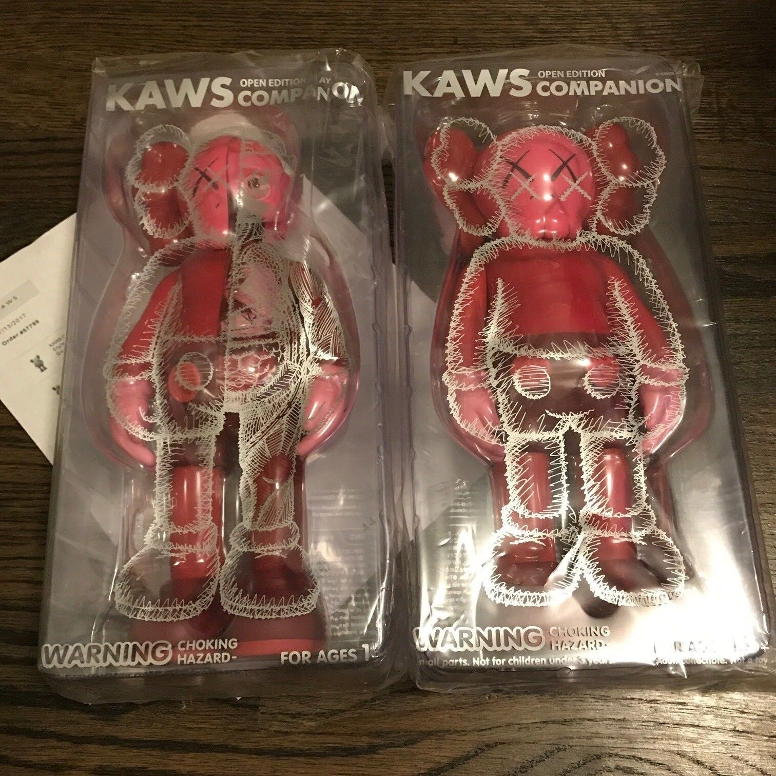 2017 KAWS Companion Set rosso BLUSH Full body & Flayed 100% AUTHENTIC