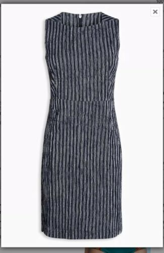 12 Next Bnwt Shift Texture Ribbed White Navy Rrp Petite Dress gwCwvq0T