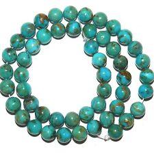 "T917k KINGMAN MINE Natural Vivid Blue Turquoise 8mm Round Gemstone Bead 15"""