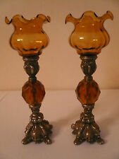 ORNATE VOTIVE CANDLE STICK HOLDER ANTIQUE BRASS AMBER LUCITE ACRYLIC GLASS SHADE