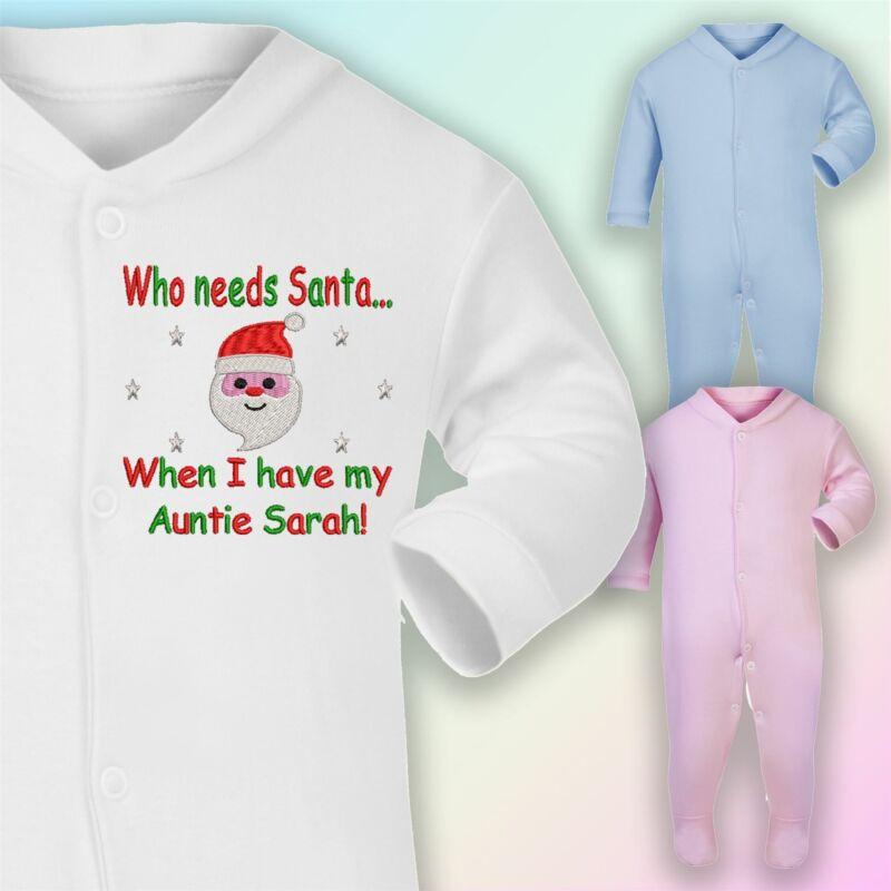 ? Quién Necesita Santa-tía Bordado Bebé Pelele Regalo Navidad Personalizado