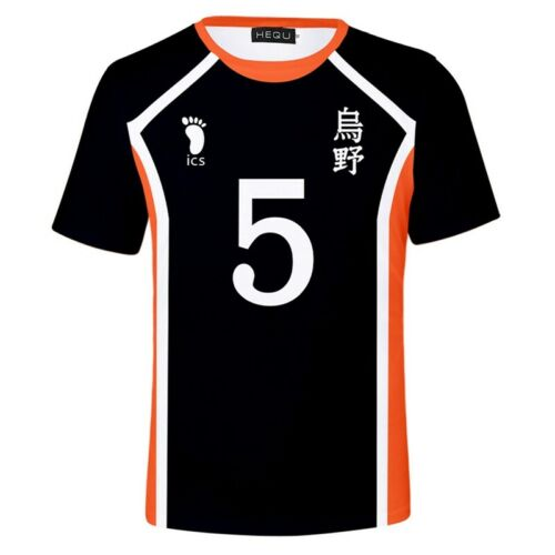 Hinata Shoyo T-Shirt Volleyball Team Short Sleeve Black Tee cld Anime Haikyuu!