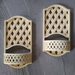 Homco-Ivory-Lattice-Candle-Holder-Plant-Sconce-Wall-Pair-2199-Burwood-1978-Vtg