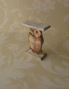 Dollhouse-Miniature-Owl-Table-Stand-1-12-OOAK-artist-room-decor-bird