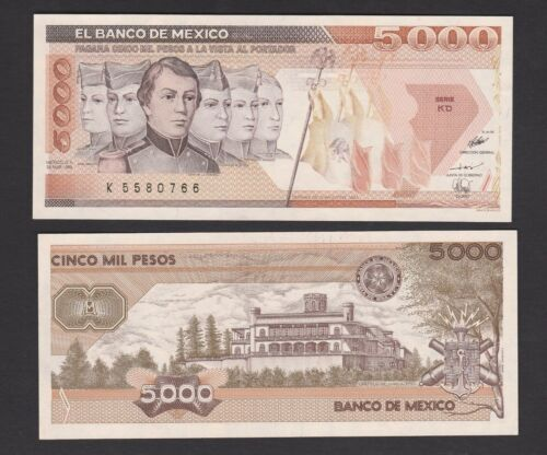 P88c banknote 1989 Mexico 5000 Peso UNC