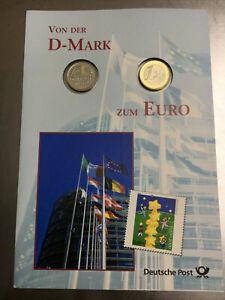 Von der D-Mark zum Euro 1 Mark und 1 Euro Prägefrisch St im Folder
