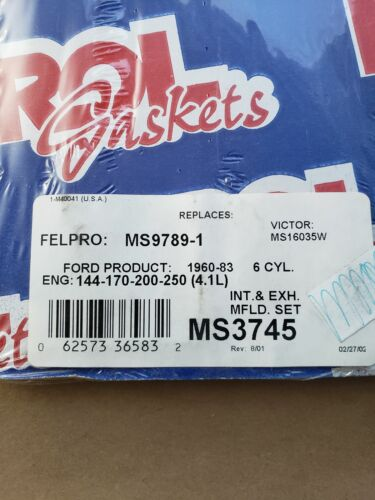 Intake and Exhaust Manifolds Combination Gasket ROL MS3745 NOS