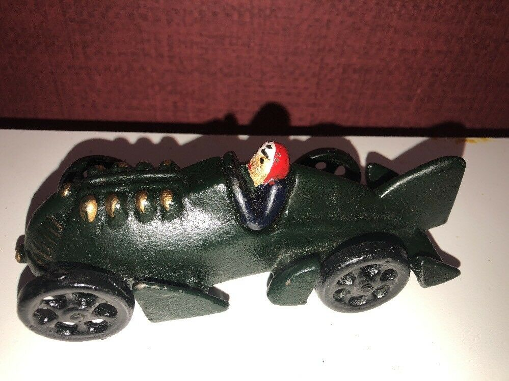 ART ART ART Boat Tail Racer Cast Iron Race Car w Driver Toy Hubley JM 210 RARE Vintage adee46