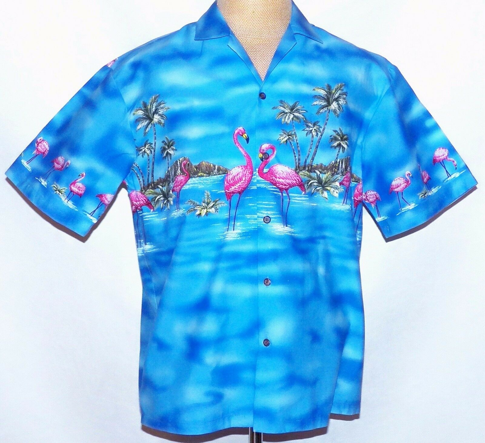 Ky 'S rosa Flamingos Albero di Palma Oahu Diamond Head Blu Hawaiano Camp Aloha