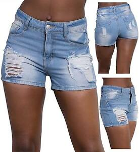 Ladies-Women-Ripped-Denim-High-Waist-Summer-Shorts-Hot-Pants-size-6